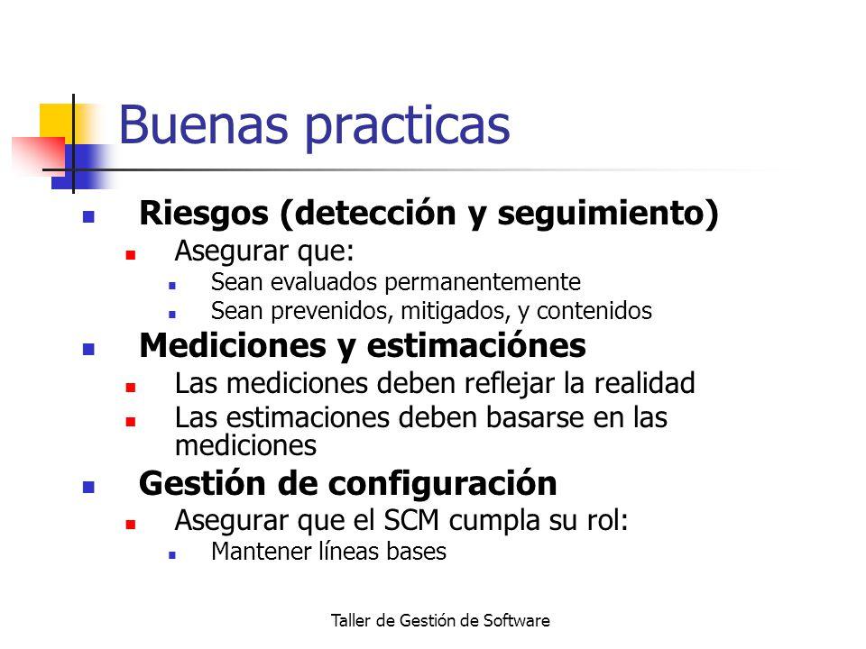 Taller de Gestión de Software Buenas practicas Riesgos (detección y seguimiento) Asegurar que: Sean evaluados permanentemente Sean prevenidos, mitigad