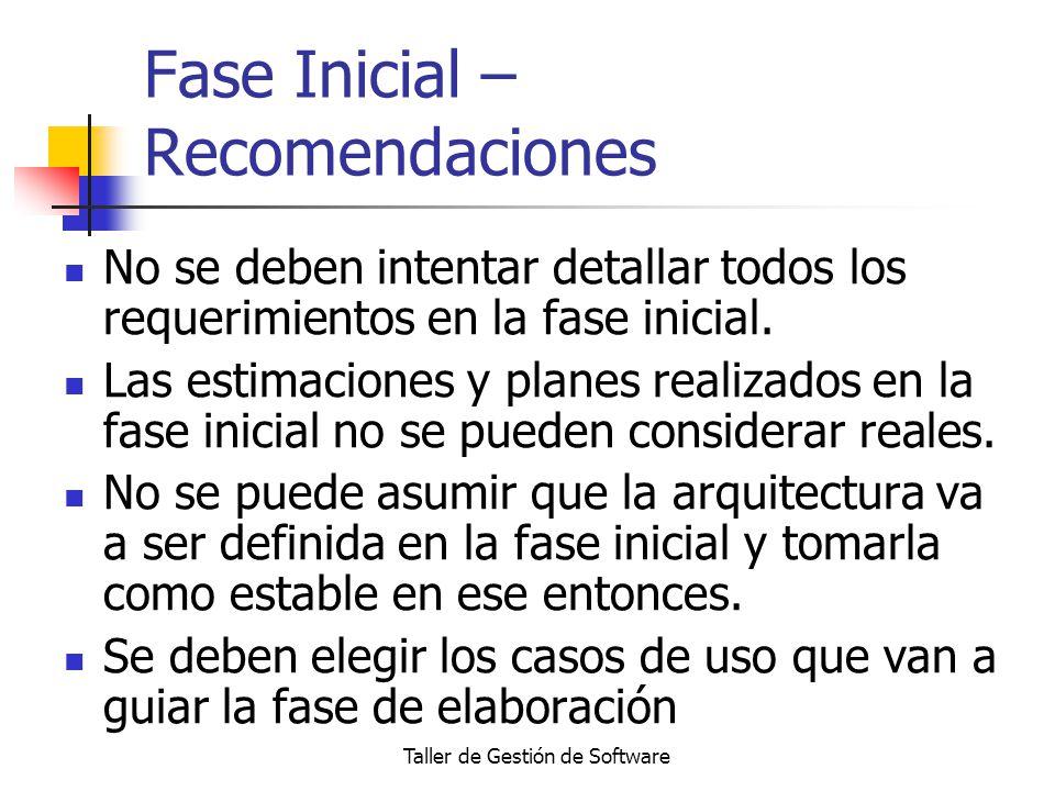 Taller de Gestión de Software Fase Inicial – Recomendaciones No se deben intentar detallar todos los requerimientos en la fase inicial. Las estimacion