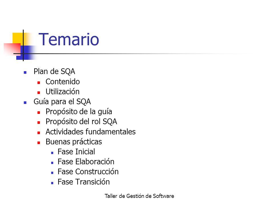 Taller de Gestión de Software Temario Plan de SQA Contenido Utilización Guía para el SQA Propósito de la guía Propósito del rol SQA Actividades fundam