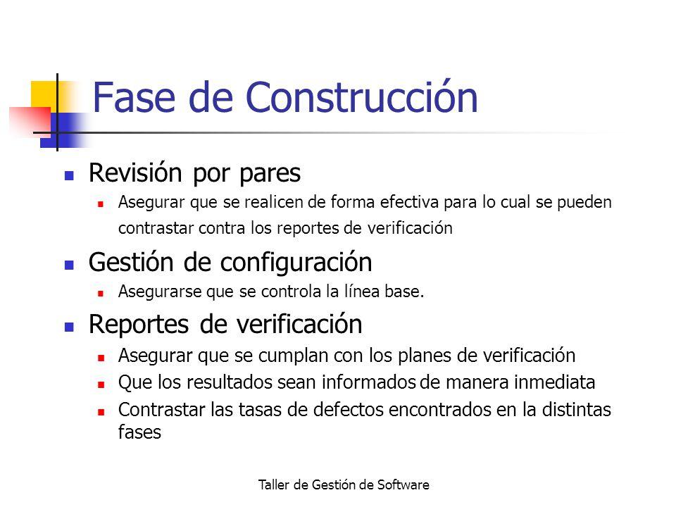 Taller de Gestión de Software Fase de Construcción Revisión por pares Asegurar que se realicen de forma efectiva para lo cual se pueden contrastar con