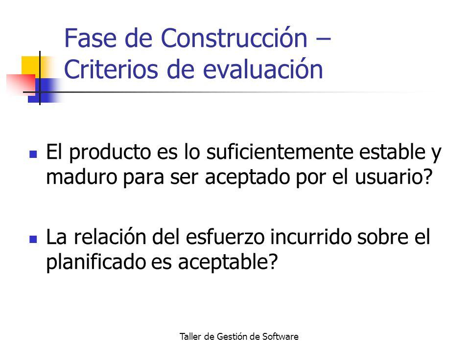 Taller de Gestión de Software Fase de Construcción – Criterios de evaluación El producto es lo suficientemente estable y maduro para ser aceptado por