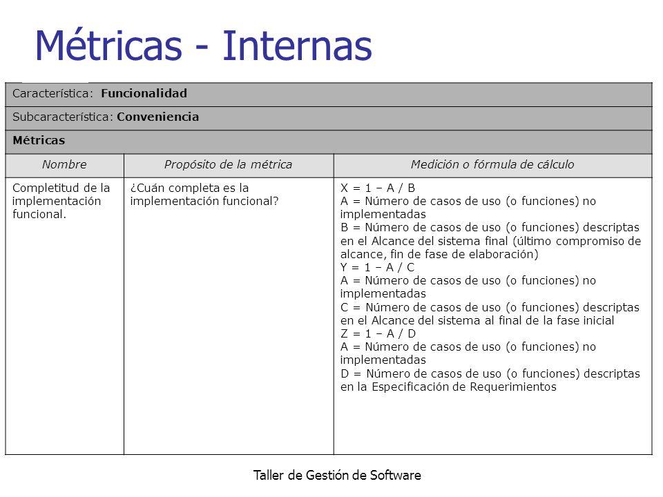 Taller de Gestión de Software Métricas - Internas Característica: Funcionalidad Subcaracterística: Conveniencia Métricas NombrePropósito de la métrica