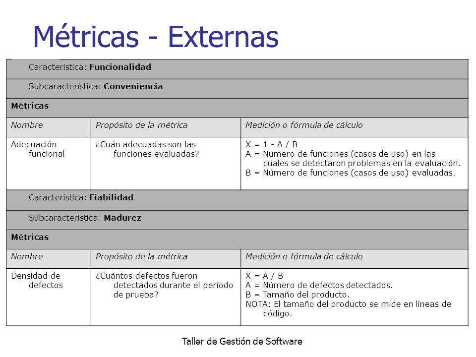Taller de Gestión de Software Métricas - Externas Característica: Funcionalidad Subcaracterística: Conveniencia Métricas NombrePropósito de la métrica