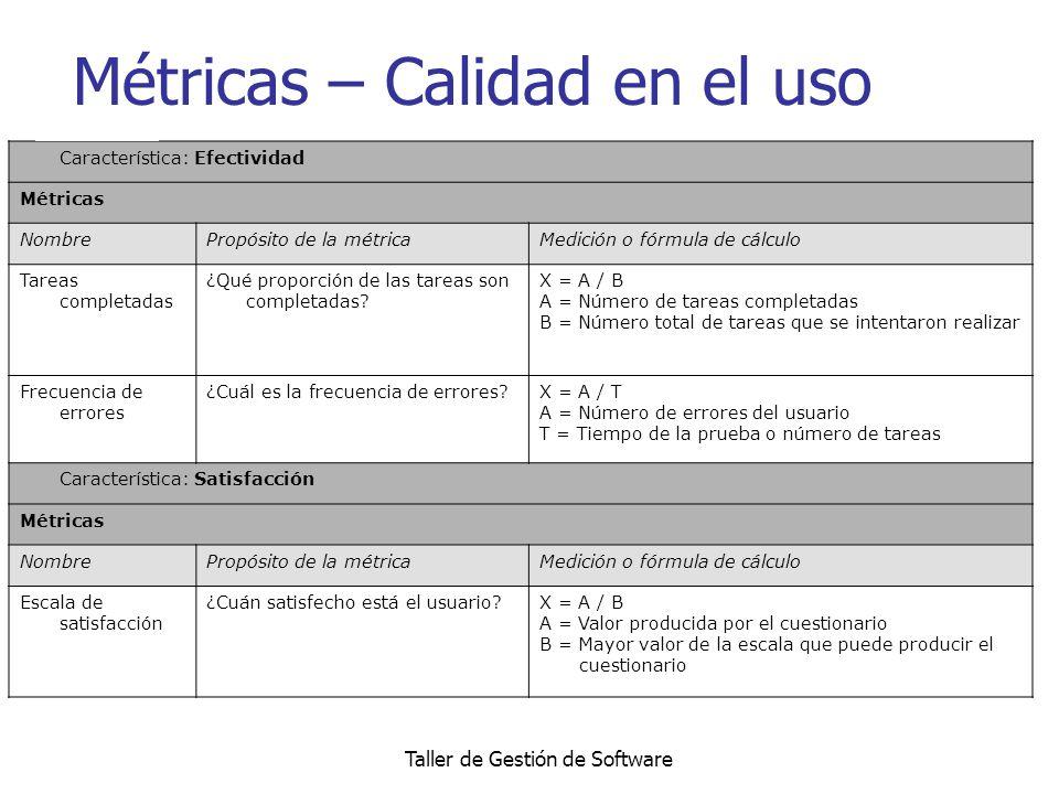 Taller de Gestión de Software Métricas – Calidad en el uso Característica: Efectividad Métricas NombrePropósito de la métricaMedición o fórmula de cál