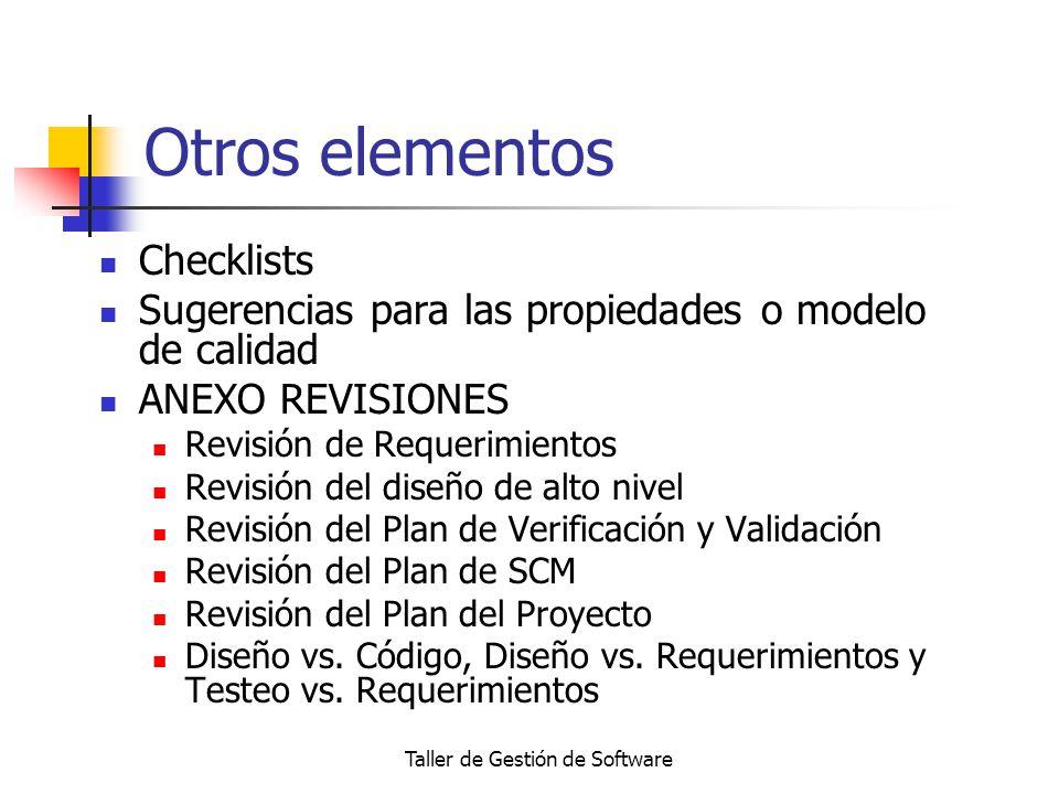 Taller de Gestión de Software Otros elementos Checklists Sugerencias para las propiedades o modelo de calidad ANEXO REVISIONES Revisión de Requerimien