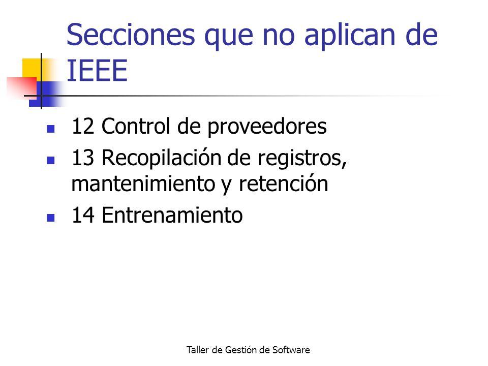 Taller de Gestión de Software Secciones que no aplican de IEEE 12 Control de proveedores 13 Recopilación de registros, mantenimiento y retención 14 En