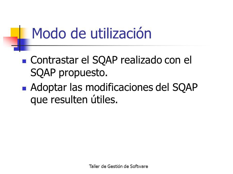 Taller de Gestión de Software Modo de utilización Contrastar el SQAP realizado con el SQAP propuesto. Adoptar las modificaciones del SQAP que resulten
