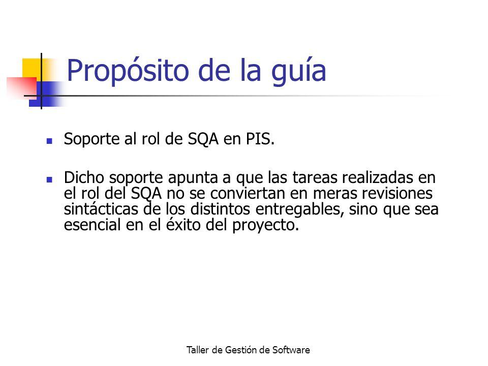 Taller de Gestión de Software Propósito de la guía Soporte al rol de SQA en PIS. Dicho soporte apunta a que las tareas realizadas en el rol del SQA no