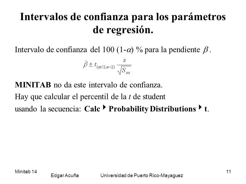 Minitab 14 Edgar Acuña Universidad de Puerto Rico-Mayaguez 11 Intervalos de confianza para los parámetros de regresión. Intervalo de confianza del 100