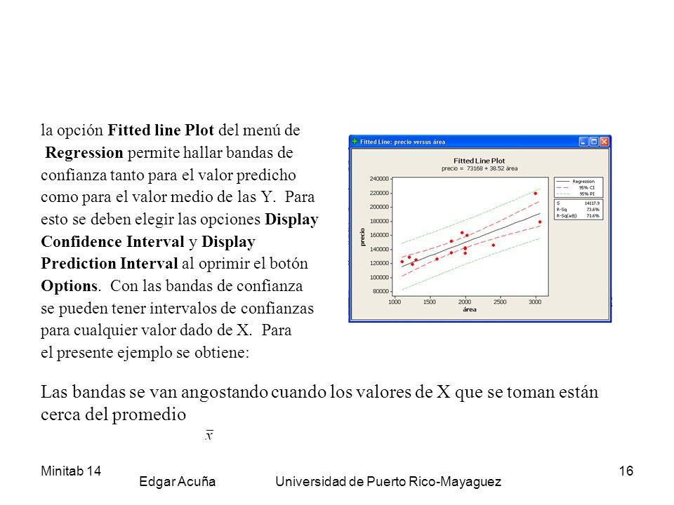 Minitab 14 Edgar Acuña Universidad de Puerto Rico-Mayaguez 16 la opción Fitted line Plot del menú de Regression permite hallar bandas de confianza tan