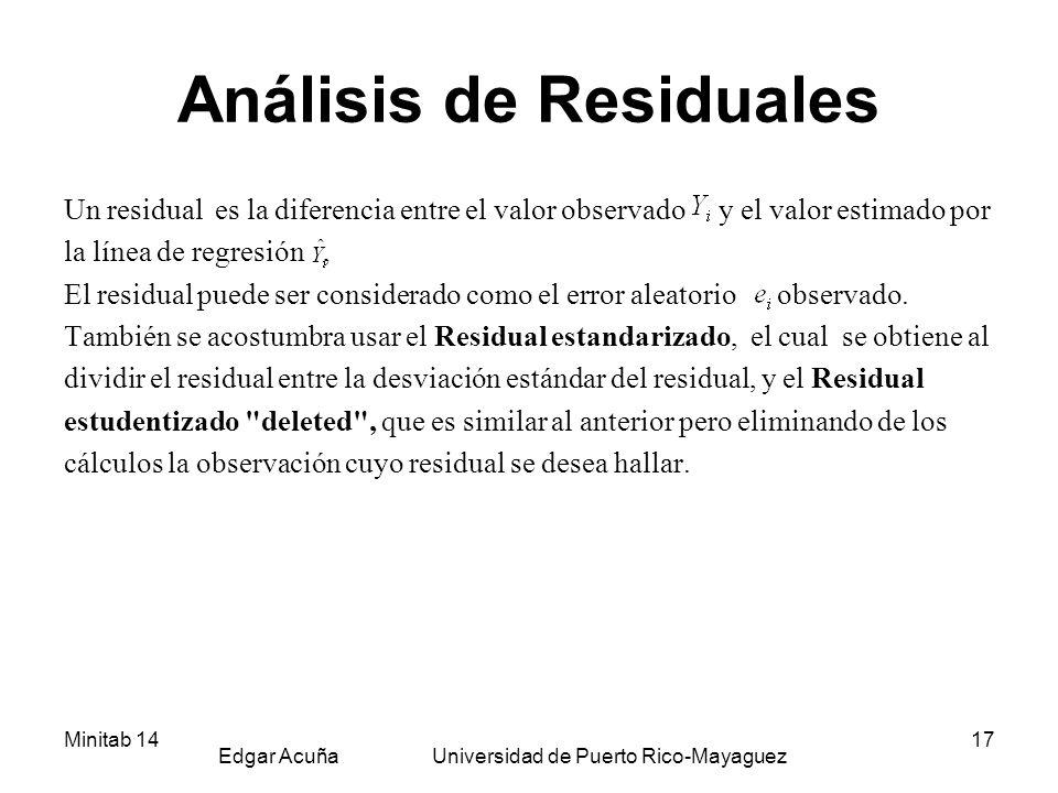 Minitab 14 Edgar Acuña Universidad de Puerto Rico-Mayaguez 17 Análisis de Residuales Un residual es la diferencia entre el valor observado y el valor