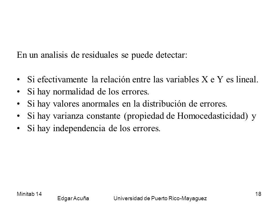 Minitab 14 Edgar Acuña Universidad de Puerto Rico-Mayaguez 18 En un analisis de residuales se puede detectar: Si efectivamente la relación entre las v