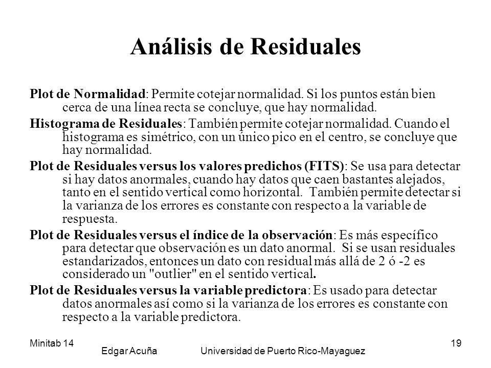 Minitab 14 Edgar Acuña Universidad de Puerto Rico-Mayaguez 19 Análisis de Residuales Plot de Normalidad: Permite cotejar normalidad. Si los puntos est