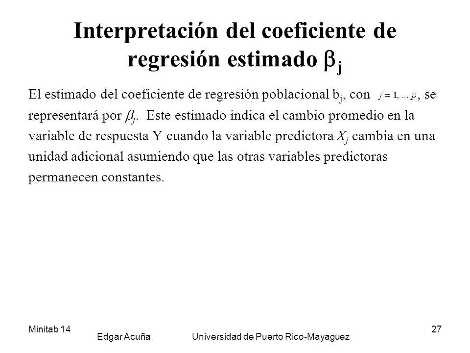 Minitab 14 Edgar Acuña Universidad de Puerto Rico-Mayaguez 27 Interpretación del coeficiente de regresión estimado j El estimado del coeficiente de re