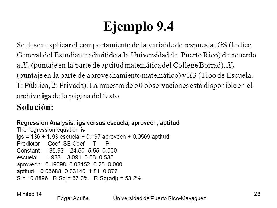 Minitab 14 Edgar Acuña Universidad de Puerto Rico-Mayaguez 28 Ejemplo 9.4 Se desea explicar el comportamiento de la variable de respuesta IGS (Indice