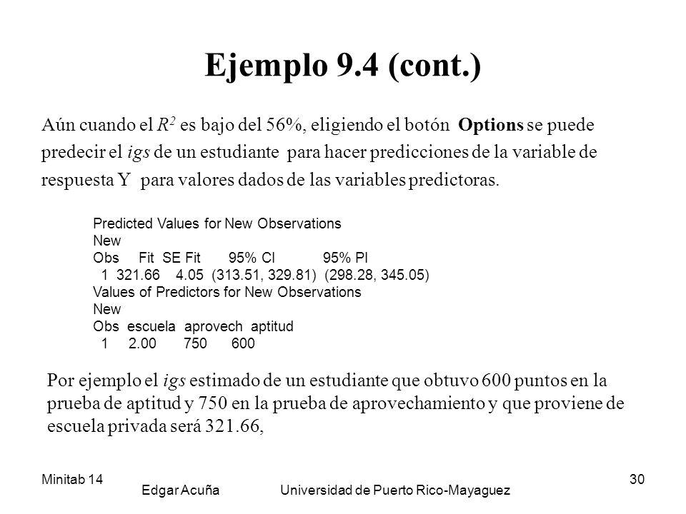 Minitab 14 Edgar Acuña Universidad de Puerto Rico-Mayaguez 30 Ejemplo 9.4 (cont.) Aún cuando el R 2 es bajo del 56%, eligiendo el botón Options se pue