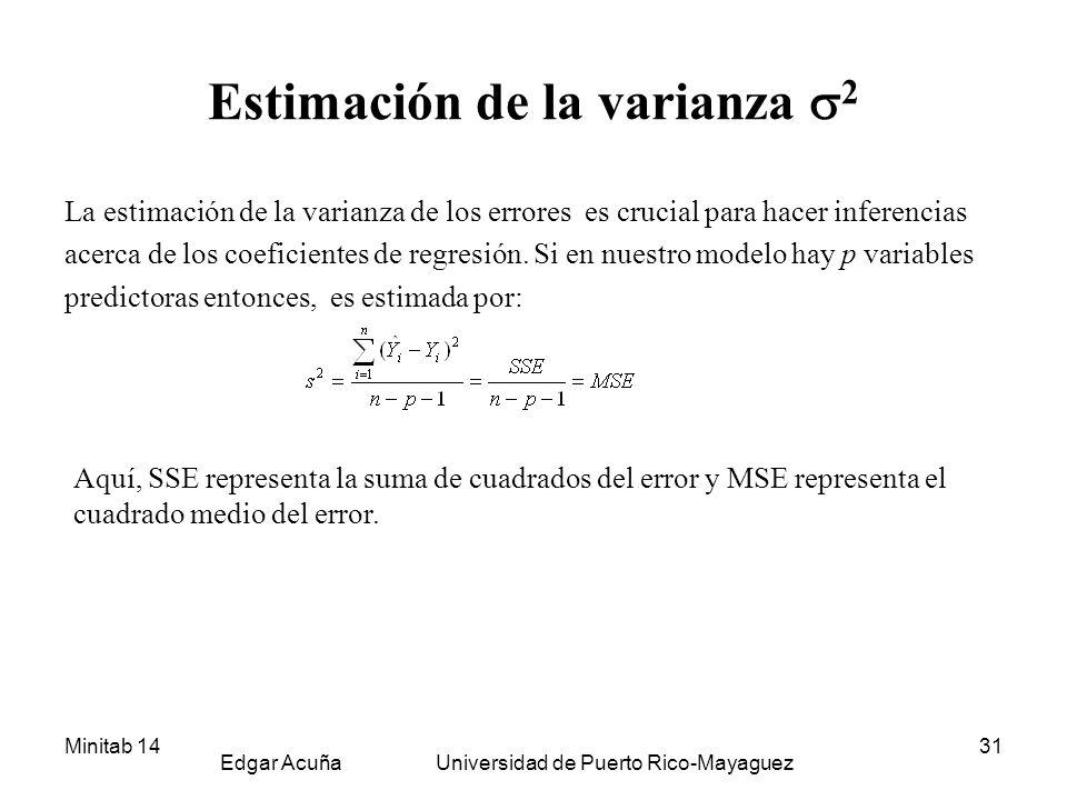 Minitab 14 Edgar Acuña Universidad de Puerto Rico-Mayaguez 31 Estimación de la varianza 2 La estimación de la varianza de los errores es crucial para