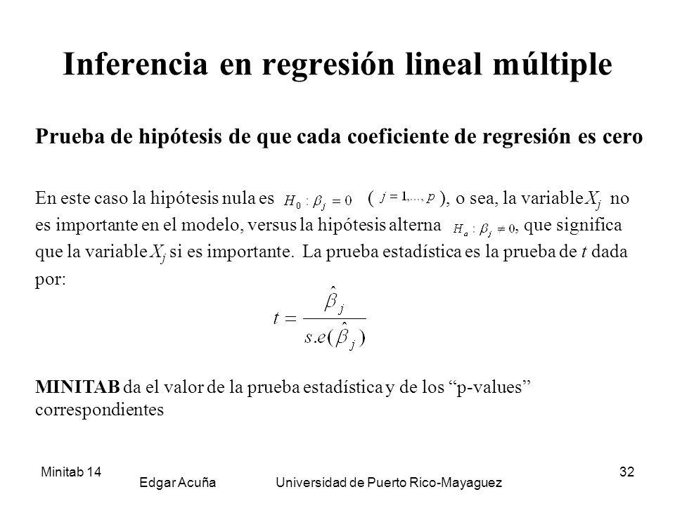 Minitab 14 Edgar Acuña Universidad de Puerto Rico-Mayaguez 32 Inferencia en regresión lineal múltiple Prueba de hipótesis de que cada coeficiente de r