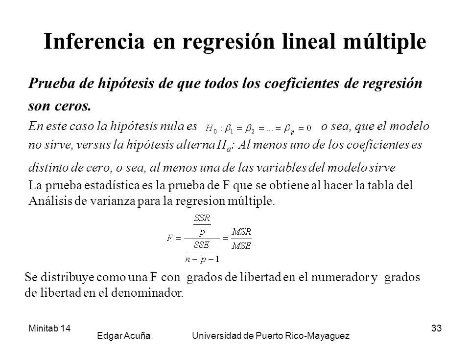 Minitab 14 Edgar Acuña Universidad de Puerto Rico-Mayaguez 33 Inferencia en regresión lineal múltiple Prueba de hipótesis de que todos los coeficiente