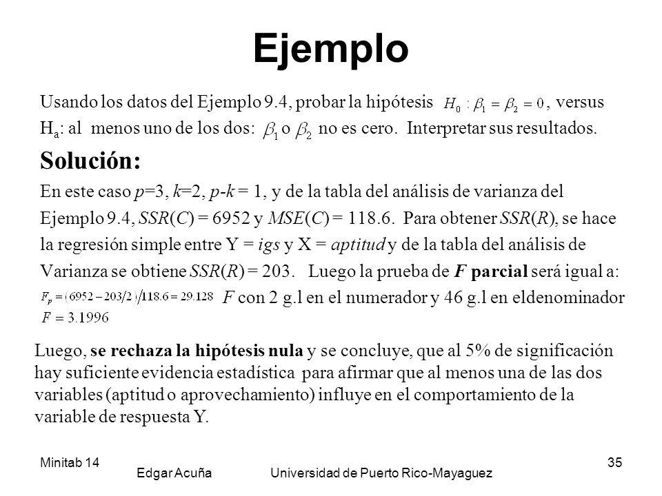Minitab 14 Edgar Acuña Universidad de Puerto Rico-Mayaguez 35 Ejemplo Usando los datos del Ejemplo 9.4, probar la hipótesis, versus H a : al menos uno