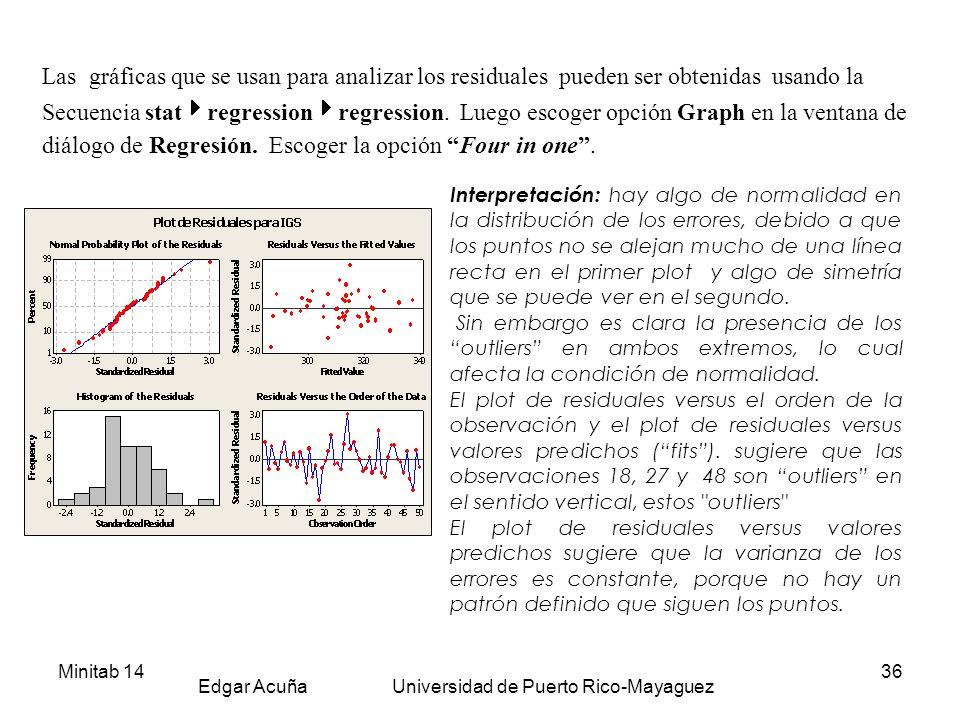 Minitab 14 Edgar Acuña Universidad de Puerto Rico-Mayaguez 36 Las gráficas que se usan para analizar los residuales pueden ser obtenidas usando la Sec