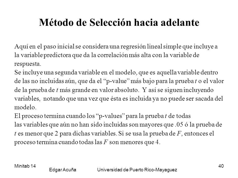 Minitab 14 Edgar Acuña Universidad de Puerto Rico-Mayaguez 40 Método de Selección hacia adelante Aquí en el paso inicial se considera una regresión li