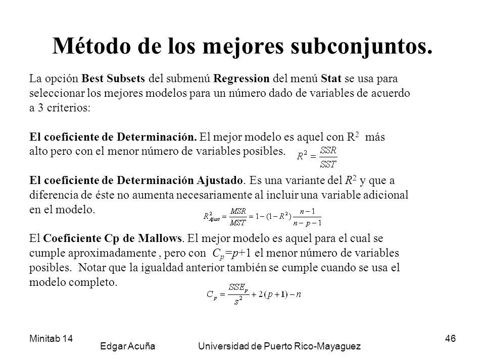 Minitab 14 Edgar Acuña Universidad de Puerto Rico-Mayaguez 46 Método de los mejores subconjuntos. La opción Best Subsets del submenú Regression del me