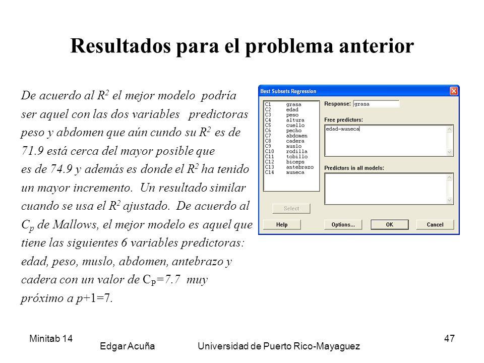Minitab 14 Edgar Acuña Universidad de Puerto Rico-Mayaguez 47 Resultados para el problema anterior De acuerdo al R 2 el mejor modelo podría ser aquel