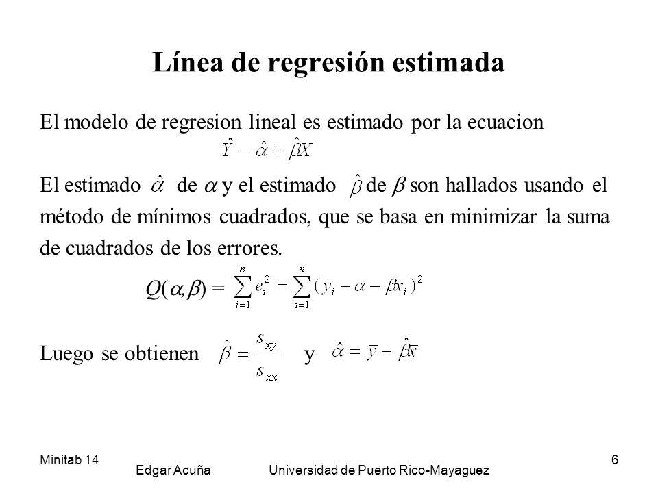 Minitab 14 Edgar Acuña Universidad de Puerto Rico-Mayaguez 7 Ejemplo 9.1 (cont.) Se desea hallar una línea de regresión que permita predecir el precio de una casa (Y) basado en el área de la misma (X).