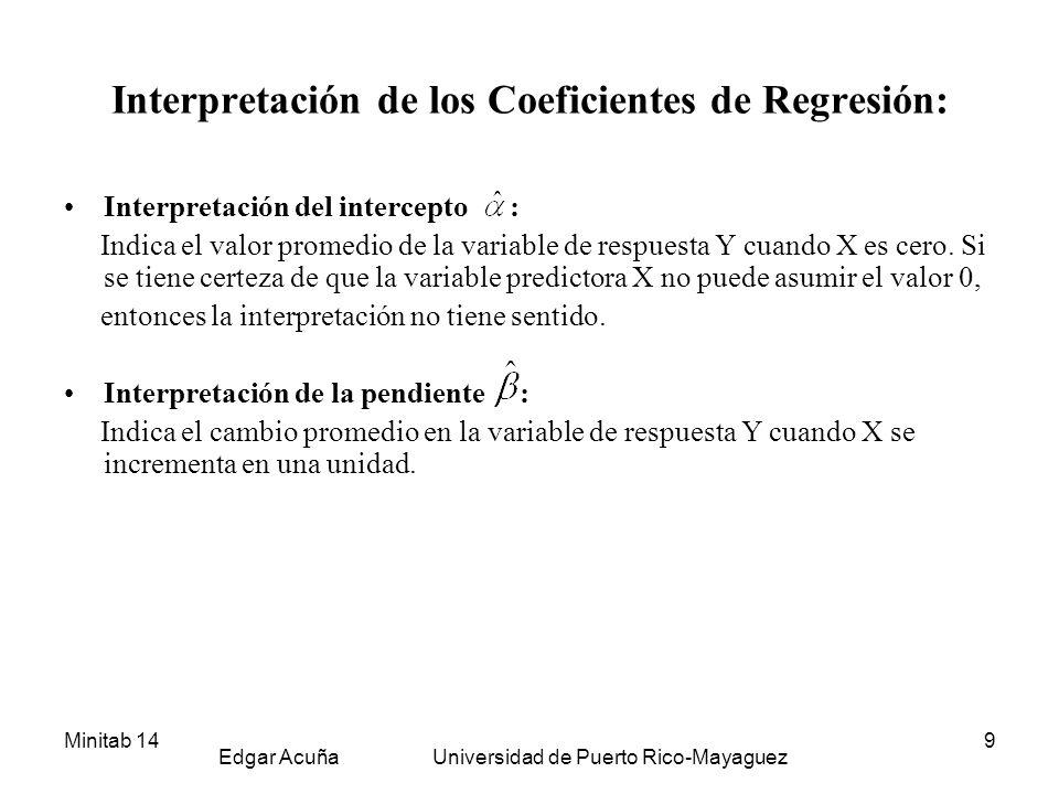 Minitab 14 Edgar Acuña Universidad de Puerto Rico-Mayaguez 10 Inferencia en Regresión Lineal Inferencia acerca de los coeficientes de regresión Las pruebas de hipótesis más frecuentes son, Ho: = 0 versus Ha: 0 y Ho: = 0 versus Ha: 0.