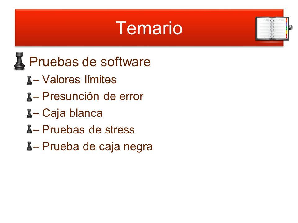Temario Pruebas de software –Valores límites –Presunción de error –Caja blanca –Pruebas de stress –Prueba de caja negra