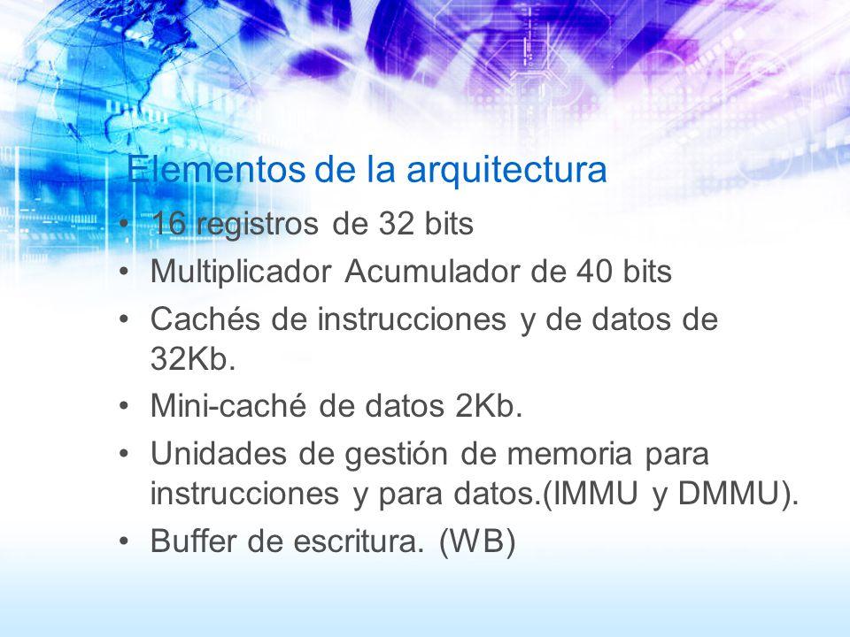 Elementos de la arquitectura 16 registros de 32 bits Multiplicador Acumulador de 40 bits Cachés de instrucciones y de datos de 32Kb. Mini-caché de dat