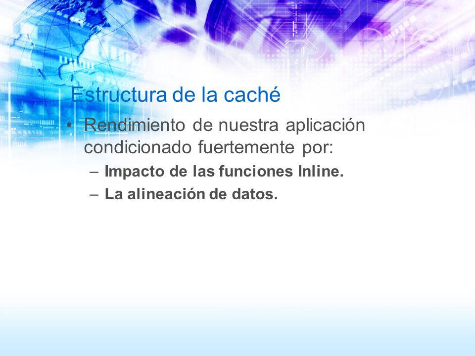 Estructura de la caché Rendimiento de nuestra aplicación condicionado fuertemente por: –Impacto de las funciones Inline. –La alineación de datos.