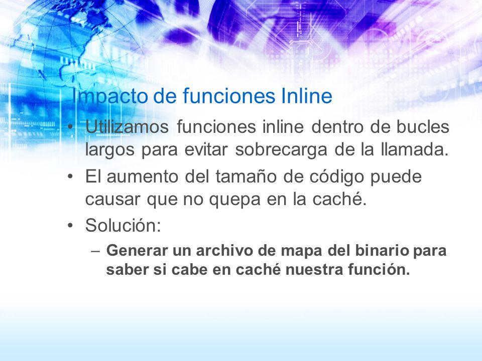 Impacto de funciones Inline Utilizamos funciones inline dentro de bucles largos para evitar sobrecarga de la llamada. El aumento del tamaño de código