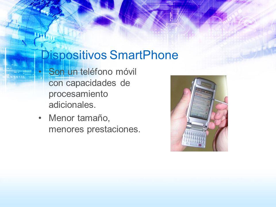 Dispositivos SmartPhone Son un teléfono móvil con capacidades de procesamiento adicionales. Menor tamaño, menores prestaciones.