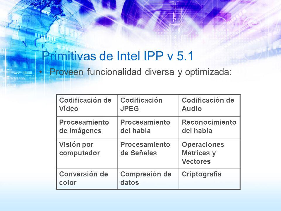 Primitivas de Intel IPP v 5.1 Proveen funcionalidad diversa y optimizada: Codificación de Vídeo Codificación JPEG Codificación de Audio Procesamiento