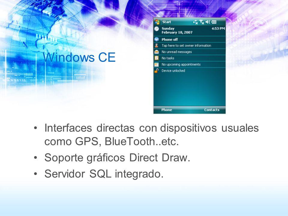 Windows CE Interfaces directas con dispositivos usuales como GPS, BlueTooth..etc. Soporte gráficos Direct Draw. Servidor SQL integrado.
