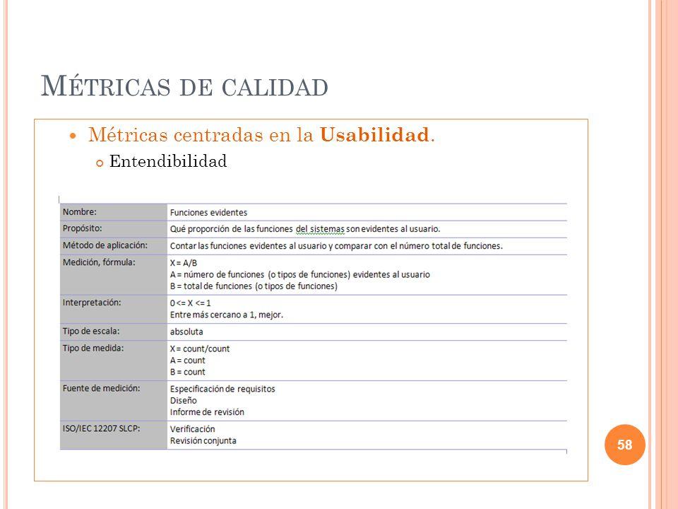 M ÉTRICAS DE CALIDAD Métricas centradas en la Usabilidad. Entendibilidad 58