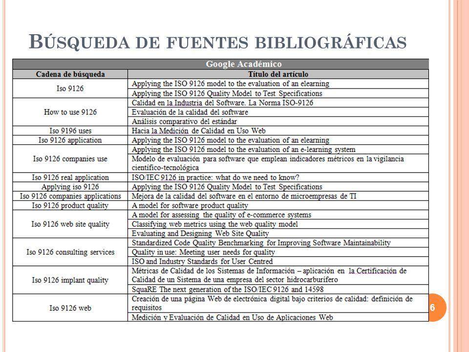 C ONTENIDO Objetivo de la revisión sistemática Búsqueda de fuentes bibliográficas Selección de fuentes bibliográficas Informe de la revisión sistemática Introducción a la norma ISO/IEC 9126 Características de la norma ISO/IEC 9126 Aplicación de la norma para la evaluación de un producto software Calidad en el uso y la mantenibilidad de un producto software Métricas de calidad Modelo 2QCV3Q Conclusiones 37