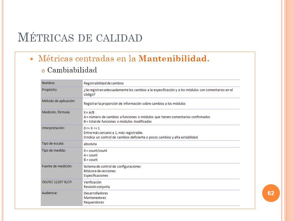 M ÉTRICAS DE CALIDAD Métricas centradas en la Mantenibilidad. Cambiabilidad 62