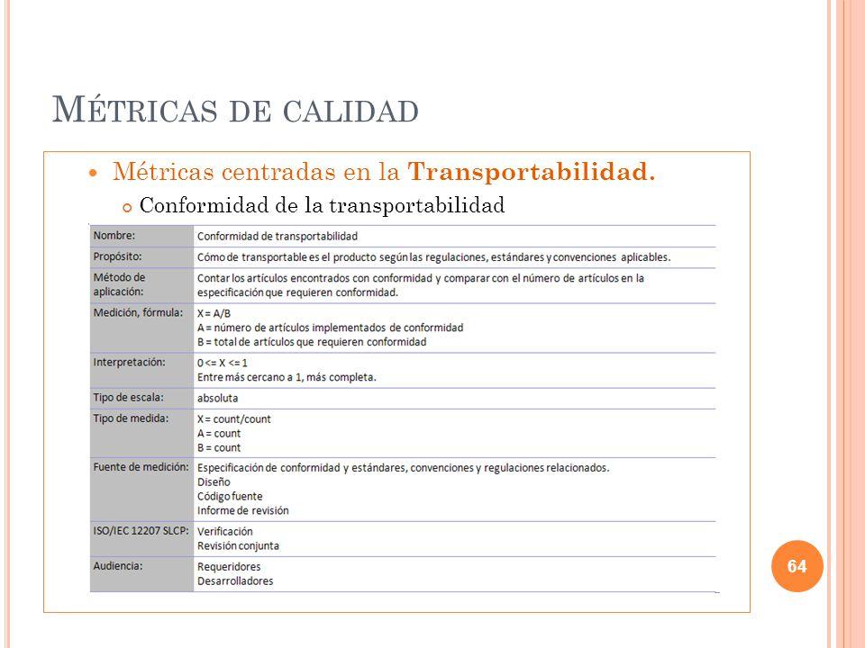 M ÉTRICAS DE CALIDAD Métricas centradas en la Transportabilidad. Conformidad de la transportabilidad 64