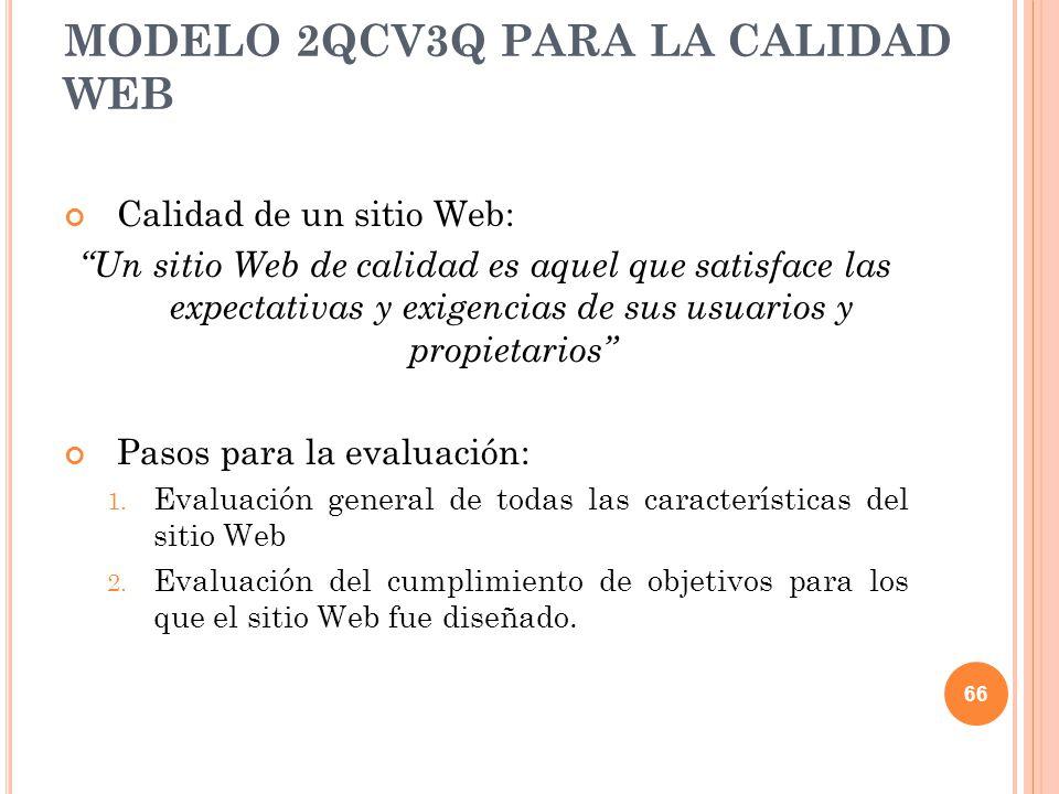 Calidad de un sitio Web: Un sitio Web de calidad es aquel que satisface las expectativas y exigencias de sus usuarios y propietarios Pasos para la eva