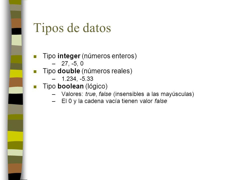 Tipos de datos n Tipo integer (números enteros) –27, -5, 0 n Tipo double (números reales) –1.234, -5.33 n Tipo boolean (lógico) –Valores: true, false