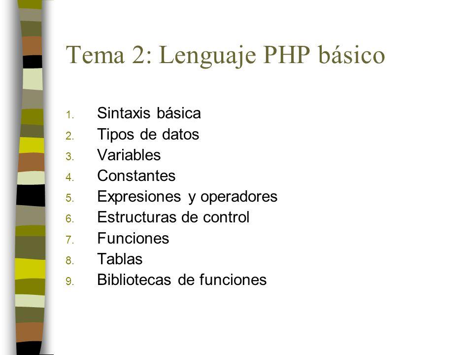 1. Sintaxis básica 2. Tipos de datos 3. Variables 4. Constantes 5. Expresiones y operadores 6. Estructuras de control 7. Funciones 8. Tablas 9. Biblio