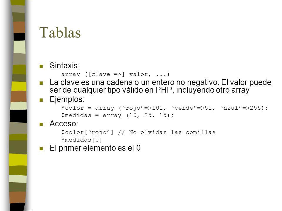 Tablas n Sintaxis: array ([clave =>] valor,...) n La clave es una cadena o un entero no negativo. El valor puede ser de cualquier tipo válido en PHP,