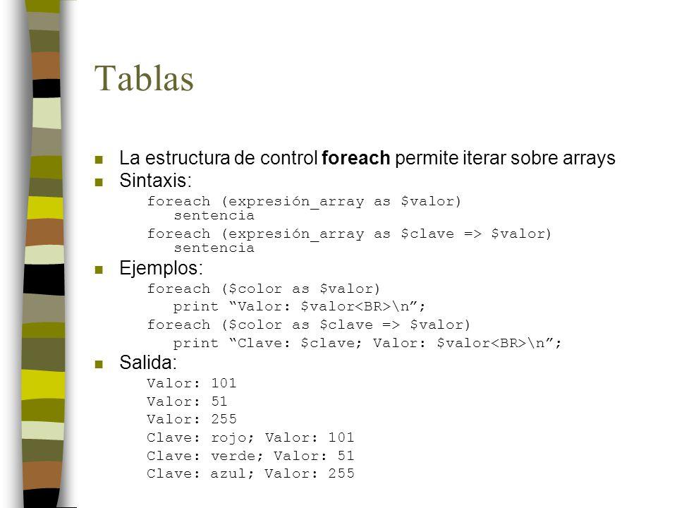 Tablas n La estructura de control foreach permite iterar sobre arrays n Sintaxis: foreach (expresión_array as $valor) sentencia foreach (expresión_array as $clave => $valor) sentencia n Ejemplos: foreach ($color as $valor) print Valor: $valor \n; foreach ($color as $clave => $valor) print Clave: $clave; Valor: $valor \n; n Salida: Valor: 101 Valor: 51 Valor: 255 Clave: rojo; Valor: 101 Clave: verde; Valor: 51 Clave: azul; Valor: 255