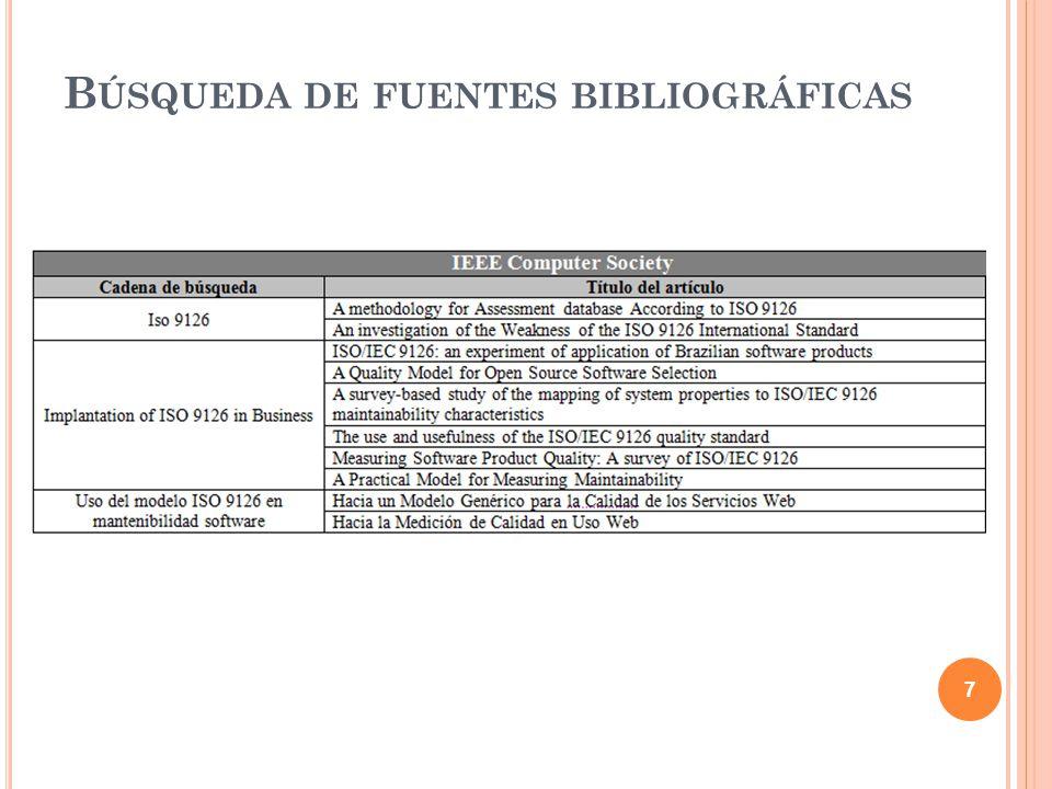C ONTENIDO Objetivo de la revisión sistemática Búsqueda de fuentes bibliográficas Selección de fuentes bibliográficas Informe de la revisión sistemática Introducción a la norma ISO/IEC 9126 Características de la norma ISO/IEC 9126 Aplicación de la norma para la evaluación de un producto software Modelo 2QCV3Q Conclusiones 8