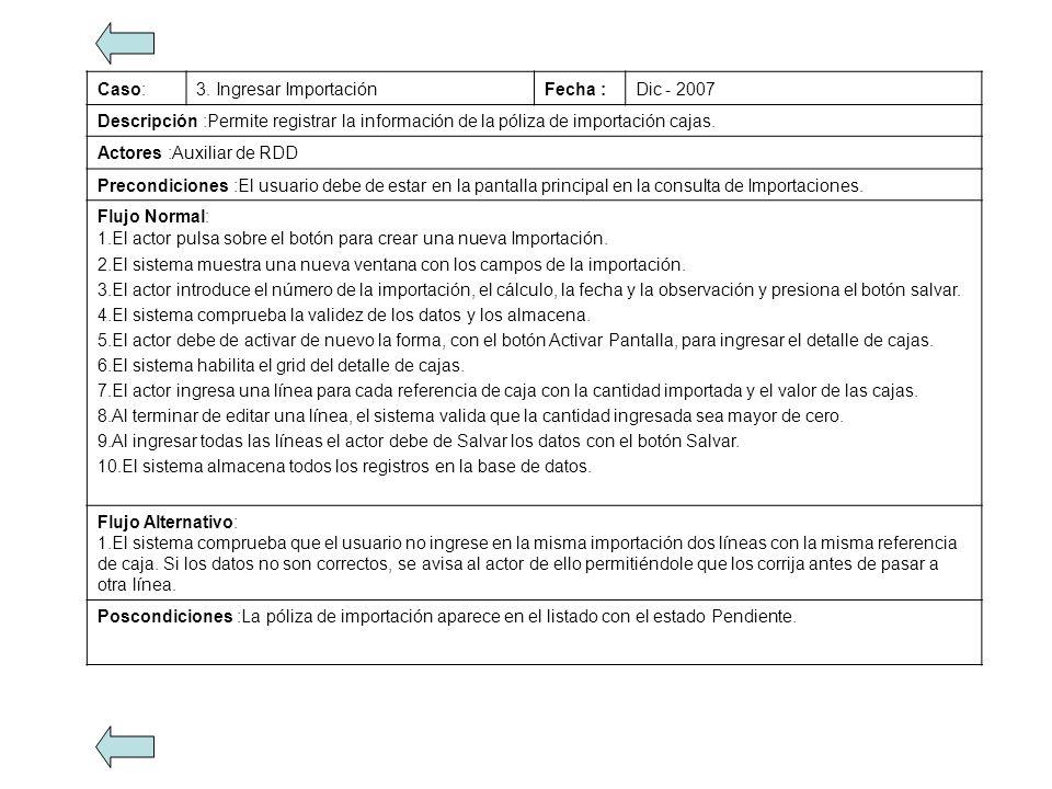 Caso:3. Ingresar ImportaciónFecha :Dic - 2007 Descripción :Permite registrar la información de la póliza de importación cajas. Actores :Auxiliar de RD