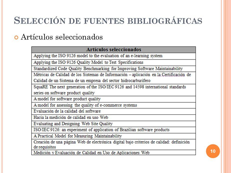 Artículos seleccionados 10 S ELECCIÓN DE FUENTES BIBLIOGRÁFICAS