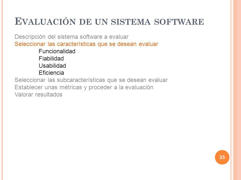 Descripción del sistema software a evaluar Seleccionar las características que se desean evaluar Funcionalidad Fiabilidad Usabilidad Eficiencia Selecc